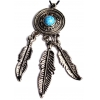 Pendant Feathers 62mm Antique Silver Turquoise